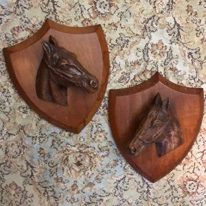 Antique Carved Sculptural Equestrian HorseHead Set